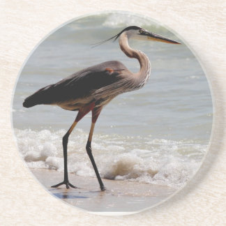 Great Blue Heron on the beach Drink Coaster