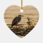 Great Blue Heron Double-Sided Heart Ceramic Christmas Ornament
