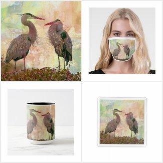 Great Blue Heron Pair Digital Art Collection
