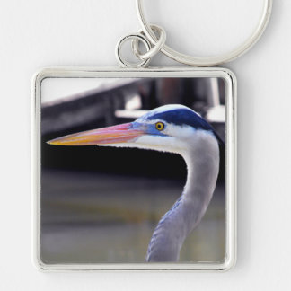Great Blue Heron Profile Silver-Colored Square Keychain