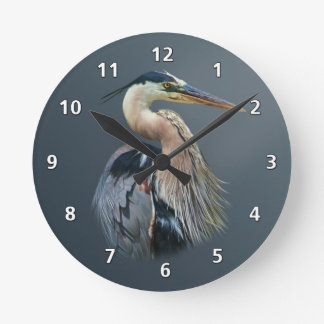 Great Blue Heron Round Clock