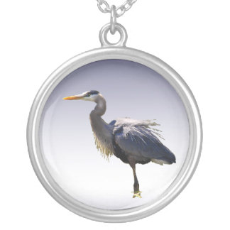 Great Blue Heron Round Pendant Necklace