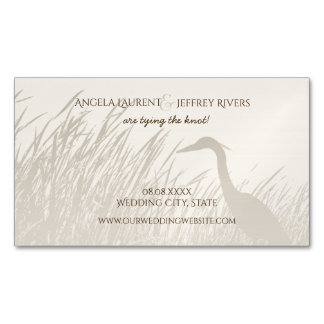 Great Blue Heron rustic wedding save the date Business Card Magnet