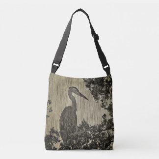 Great Blue Heron Sepia Tone Art Crossbody Bag