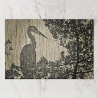 Great Blue Heron Sepia Tone Art Paper Pad