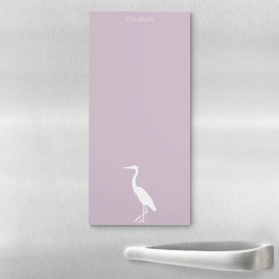 Great Blue Heron silhouette ANY color personalized Magnetic Notepad