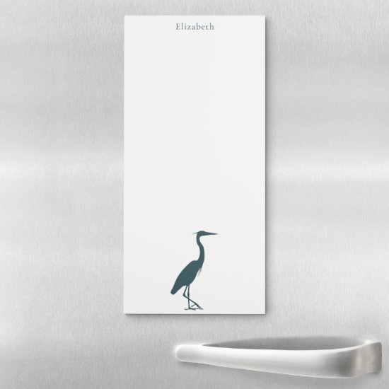 Great Blue Heron silhouette personalized Magnetic Notepad