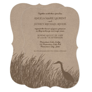 Great Blue Heron silhouette rustic wedding Card