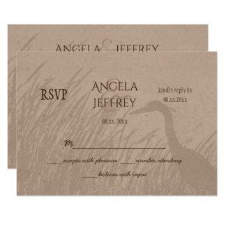 Great Blue Heron silhouette rustic wedding RSVP Card