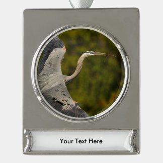great blue heron silver plated banner ornament