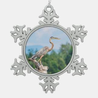 Great Blue Heron Snowflake Pewter Christmas Ornament