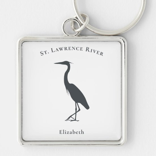 Great Blue Heron standing silhouette personalized Keychain