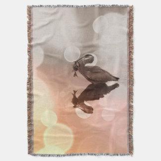Great Blue Heron Sunrise Reflection Blanket