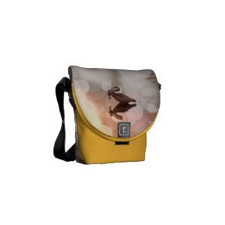 Great Blue Heron Sunset Reflection Messenger Bag