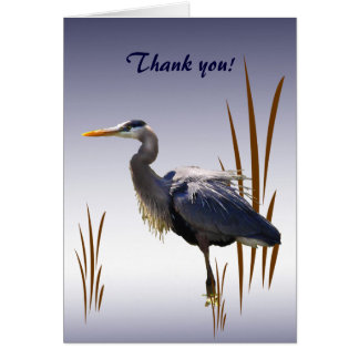 Great Blue Heron Thank You Stationery Note Card