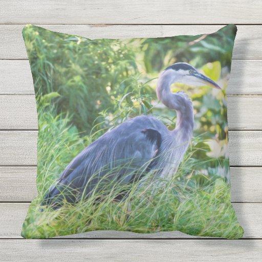 Blue Heron Throw Pillows : Great Blue Heron Throw Pillow Zazzle
