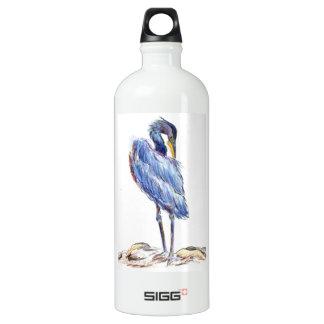 Great Blue Heron Tidies Feather - Watercolor Penci Aluminum Water Bottle