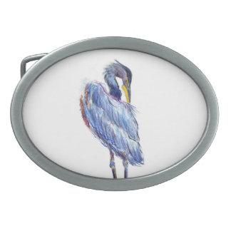 Great Blue Heron Tidies Feather - Watercolor Penci Belt Buckle