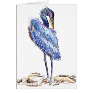 Great Blue Heron Tidies Feather - Watercolor Penci Card