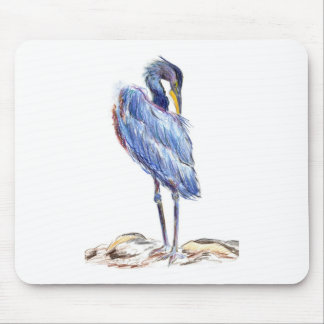 Great Blue Heron Tidies Feather - Watercolor Penci Mouse Pad