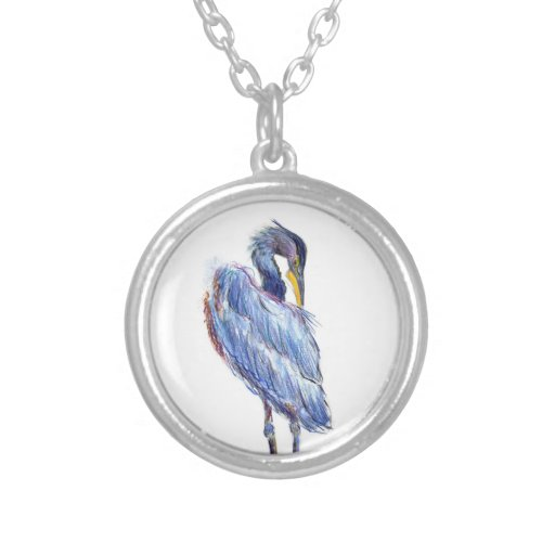 Great Blue Heron Tidies Feather - Watercolor Penci Necklace
