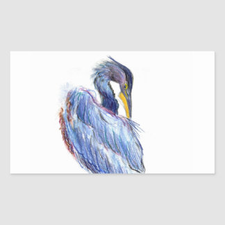Great Blue Heron Tidies Feather - Watercolor Penci Rectangular Sticker