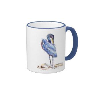 Great Blue Heron Tidies Feather - Watercolor Penci Ringer Mug
