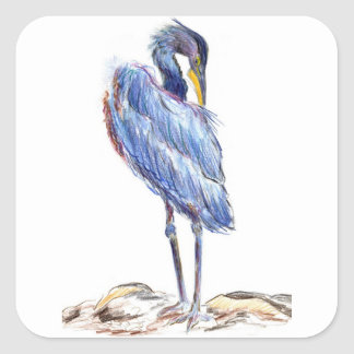Great Blue Heron Tidies Feather - Watercolor Penci Square Sticker