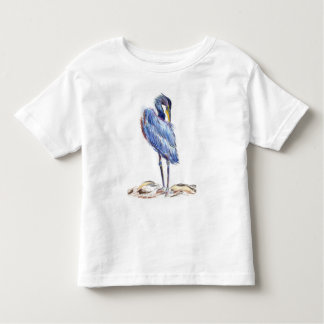 Great Blue Heron Tidies Feather - Watercolor Penci Toddler T-shirt