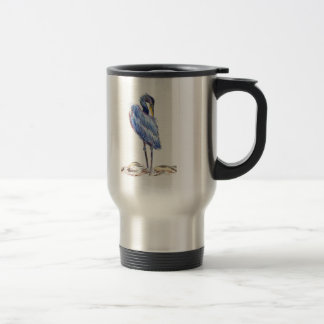 Great Blue Heron Tidies Feather - Watercolor Penci Travel Mug