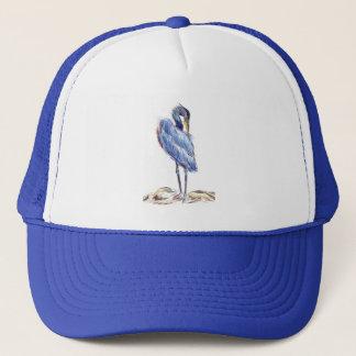 Great Blue Heron Tidies Feather - Watercolor Penci Trucker Hat