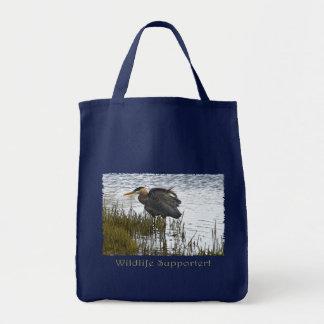 GREAT BLUE HERON Tote Bags