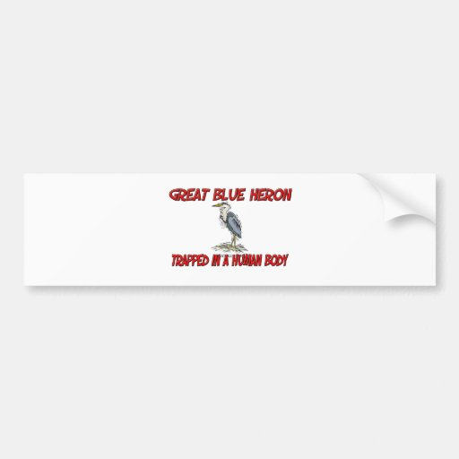 Great Blue Heron trapped in a human body Bumper Stickers