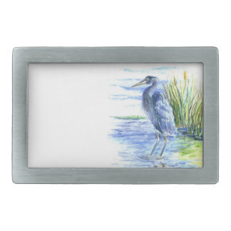Great Blue Heron Wades in the Marsh Belt Buckles