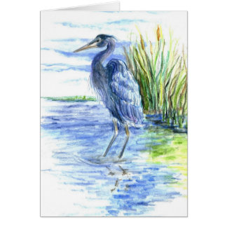 Great Blue Heron Wades in the Marsh Card