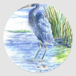 Great Blue Heron Wades in the Marsh Classic Round Sticker