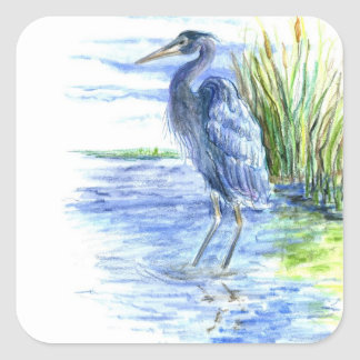 Great Blue Heron Wades in the Marsh Square Sticker