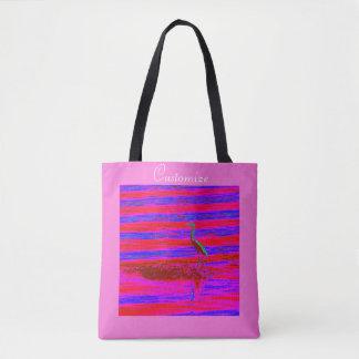 great blue heron wading pink tote bag