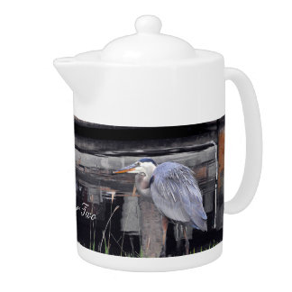 Great Blue Heron Waiting Teapot