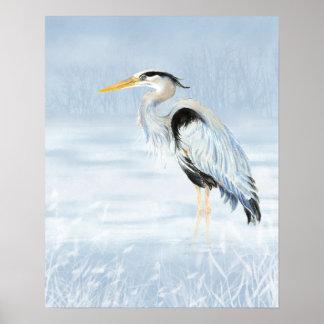 Great Blue Heron Watercolor Bird Art Poster