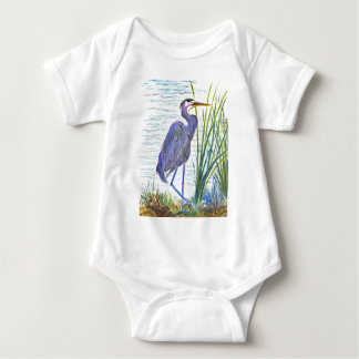Great Blue Heron - Watercolor Pencil Baby Bodysuit