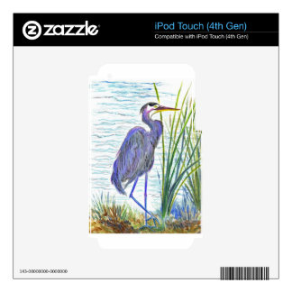 Great Blue Heron - Watercolor Pencil iPod Touch 4G Decal