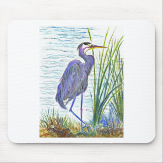 Great Blue Heron - Watercolor Pencil Mouse Pad