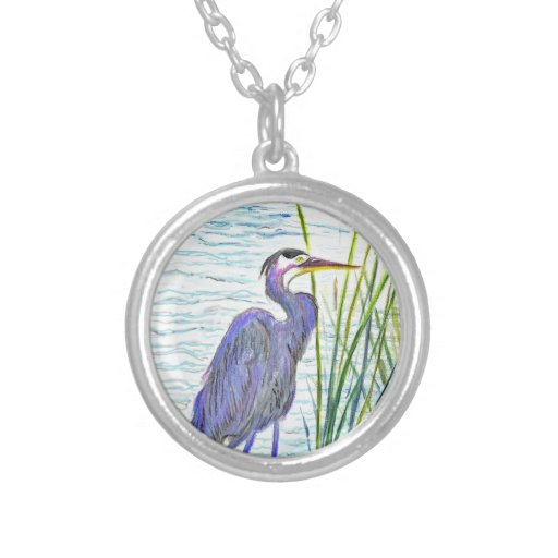 Great Blue Heron - Watercolor Pencil Custom Jewelry