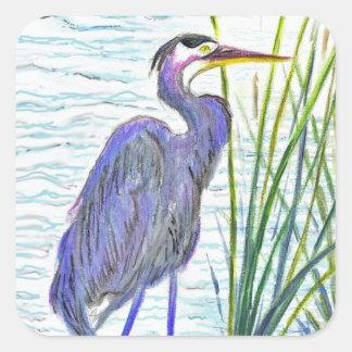 Great Blue Heron - Watercolor Pencil Square Sticker