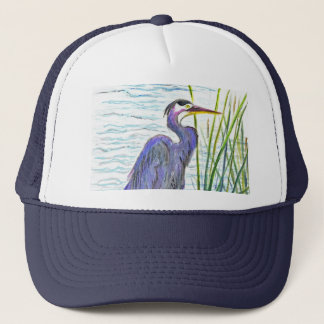 Great Blue Heron - Watercolor Pencil Trucker Hat