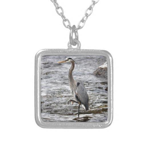 Great Blue Heron Wildlife Birdlover Photo Necklace