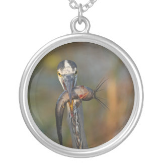 Great Blue Heron with Dinner Silver Plated Necklace