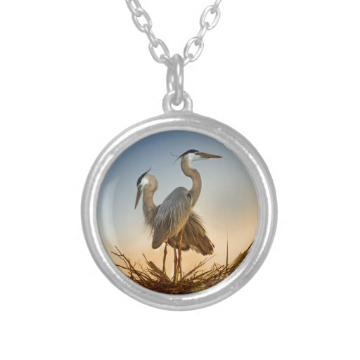 Great Blue Herons at Sunrise Necklaces