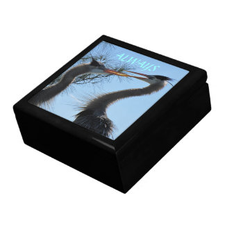 Great Blue Herons Courting Large Jewelry Box